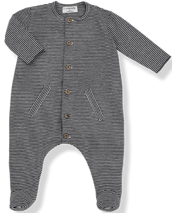 1+IN THE FAMILY NAVY STRIPED STRETCHIE WITH WOODED BUTTONS