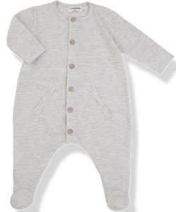 1+IN THE FAMILY GREY STRIPED STRETCHY WITH WOODEN BUTTONS