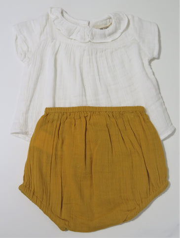ARSENE WHITE RUFFLE BLOUSE & MUSTARD BLOOMERS