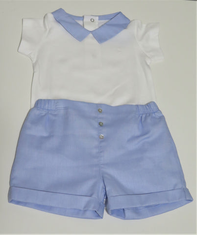 LARANJINHA BLUE COLLAR ONESIE & BLUE SHORTS