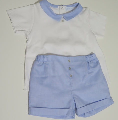 LARANJINHA WHITE SWEATER WITH BLUE COLLAR  & BLUE SHORTS