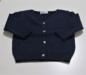 LARANJINHA NAVY KNIT BUTTON-DOWN SWEATER