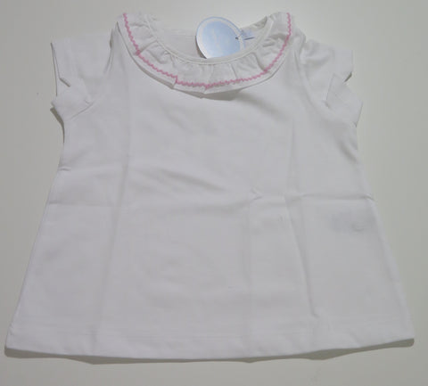 LARANJINHA WHITE RUFFLED T-SHIRT WITH PINK STICHING