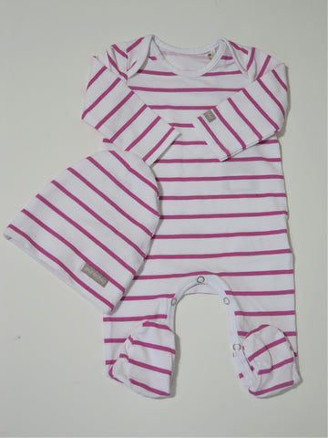 PURE CHILD PINK STRIPED STRETCHY & BEANIE