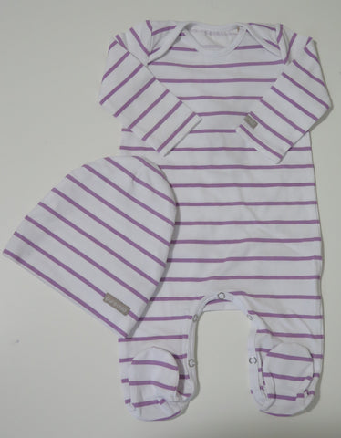 PURE CHILD PURPLE STRIPED STRETCHY & BEANIE