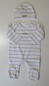 Pure Child natural & off-white stripe stretchy & beanie
