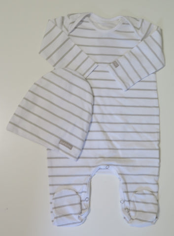 Pure Child natural & white striped stretchy & beanie