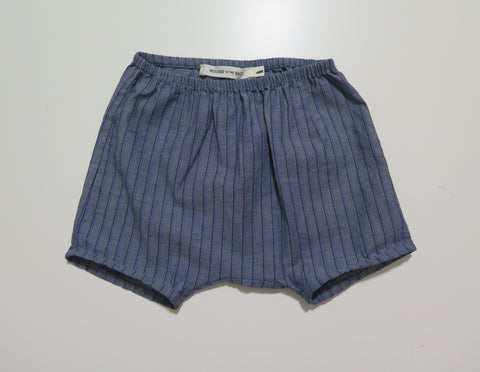 Message in the bottle denim striped shorts