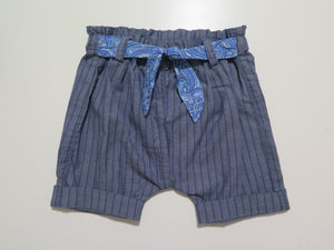Message in the bottle denim striped shorts with bandana tie