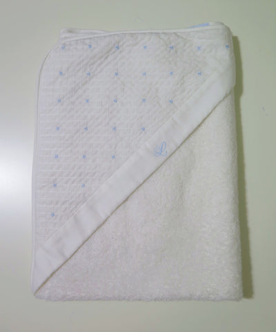 Laranjinha hooded towel with blue stitching