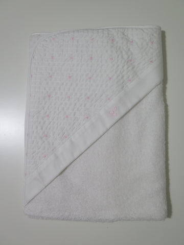 Laranjinha hooded towel with pink stitching