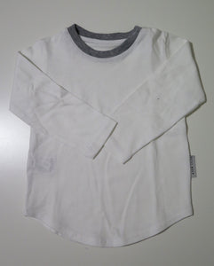 Long sleeve white t-shirt with grey neckline