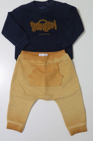 Bellybutton navy & mustard fly away sweatset