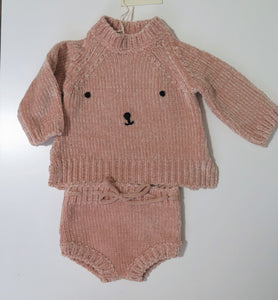 Rylee+Cru bear face chenille sweater & bloomers