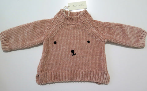 Rylee+Cru bear face chenille sweater