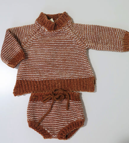 Rylee+Cru chenille striped sweater & bloomers