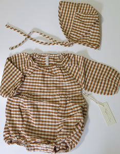 Rylee+Cru gingham bubble romper & reversible bonnet