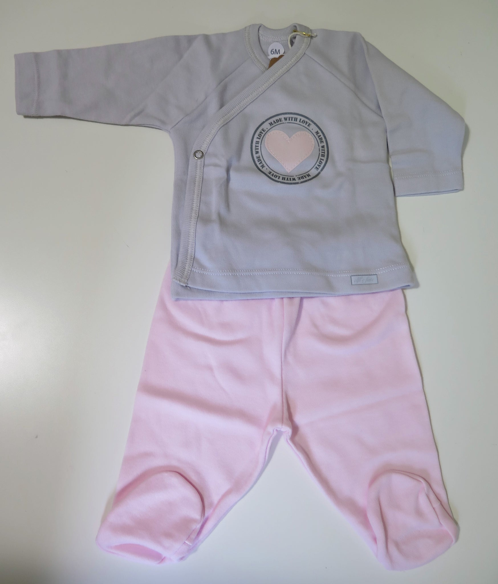 Elfi e fate footed 2 pc set with pink heart