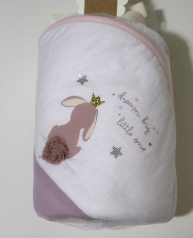 Elfi E Fate baby hooded towel with bunny image