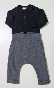 1+in the family navy ribbed t-shirt & dress pants