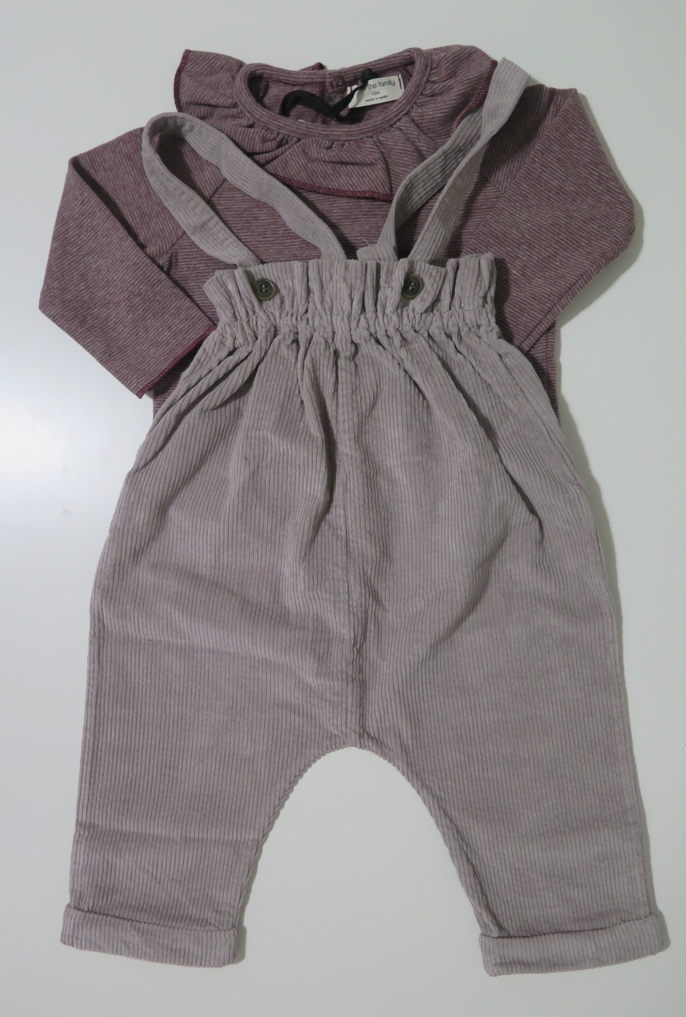 1+in the family corduroy romper & ruffled striped top