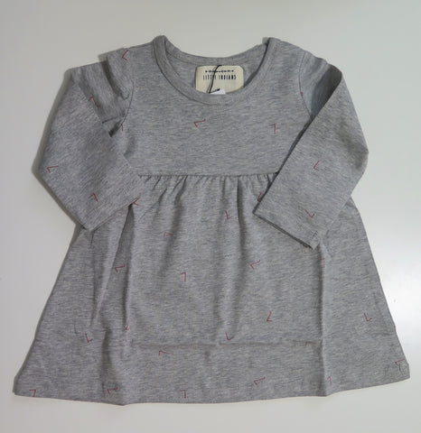 Little Indians grey dress with pink print