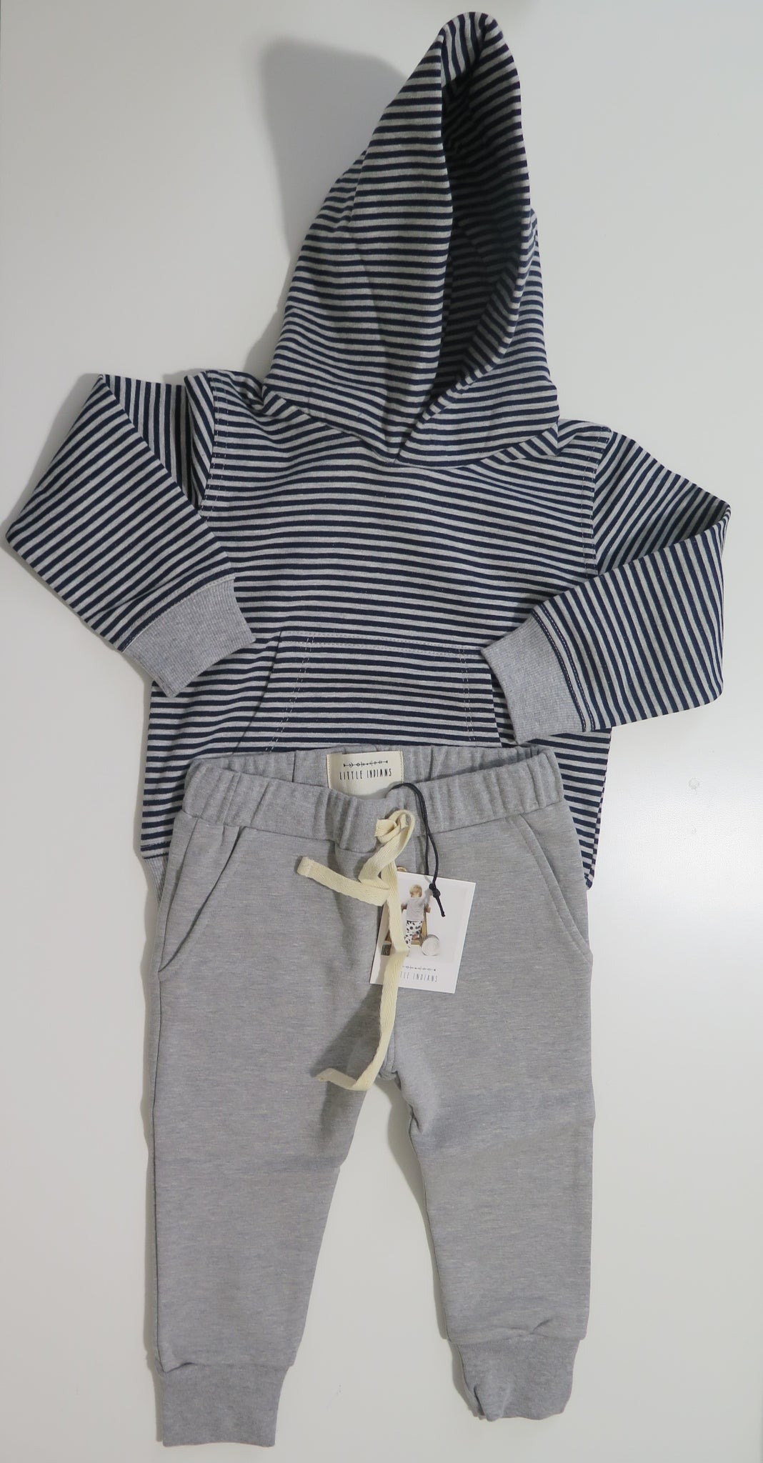 Little Indians striped hoodie & grey sweatpants