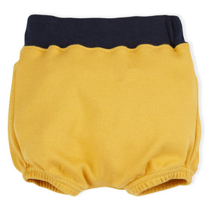 ORGANIC ZOO MUSTARD BLOOMERS WITH NAVY WAISTBAND