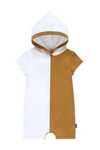 Petit Clair cognac color block hooded romper
