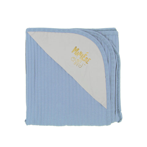 MANIERE RIBBED LIGHT BLUE BLANKET