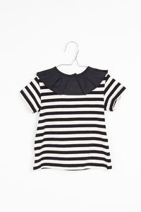 MOTORETA BLCK & WHITE STRIPED T-SHIRT WITH RUFFLE