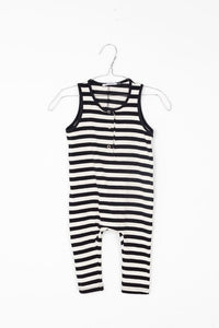 MOTORETA BLACK AND WHITE STRIPED ROMPER