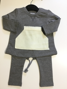 Crew kids grey top with pocket & leggings