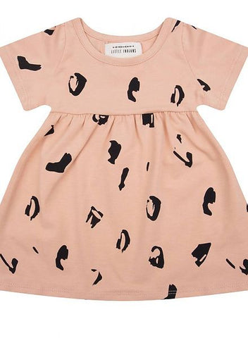LITTLE INDIANS DUSTY CORAL SPOTTED DRESS