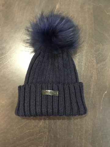 Navy winter pom pom hat