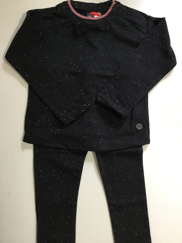 Baby face black speckled 2 pc with bow