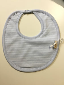 Petit oh light blue bib with white stripes