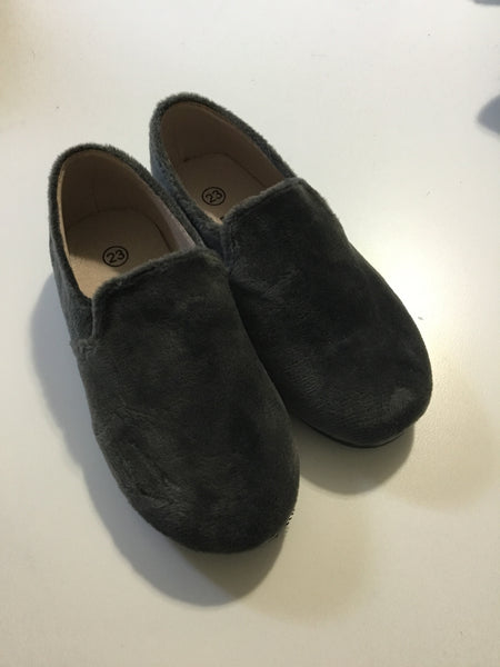 Zeebra grey velvet loafers