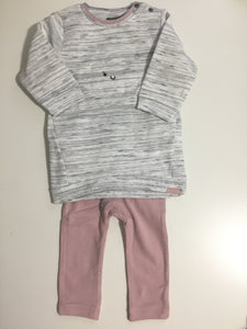 Baby face winking cloud sweatshirt & pink leggings