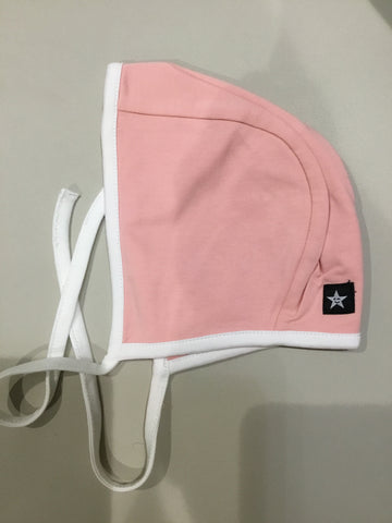 Petit Clair pink bonnet with white trimming
