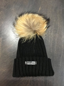 Black winter pom pom hat