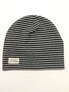 Little indians black & grey striped beanie