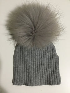 Maniere heather grey ribbed pom pom hat