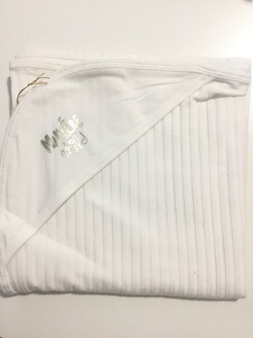 Maniere ivory ribbed blanket