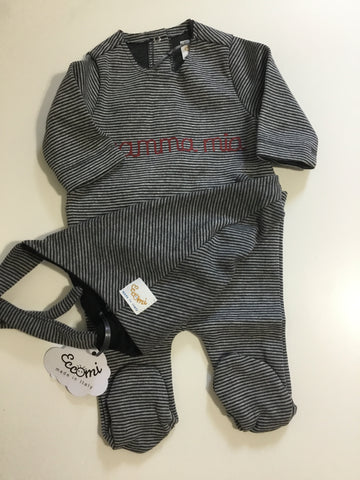 Eccomi grey striped mamma mia & bonnet