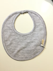 Petit oh grey bib with white stripes