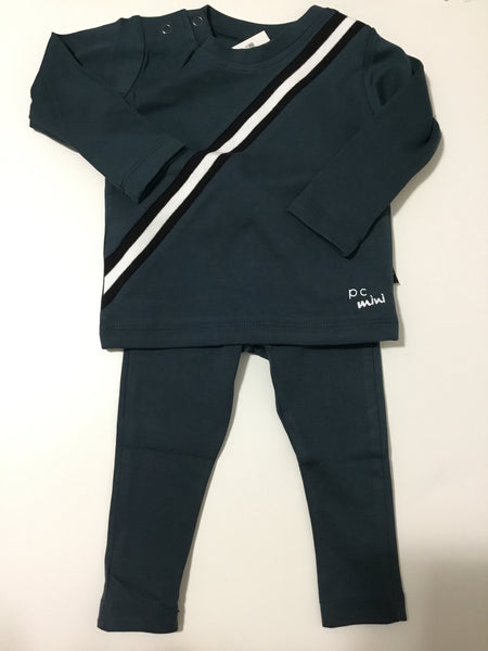 Petit clair teal sport stripe set