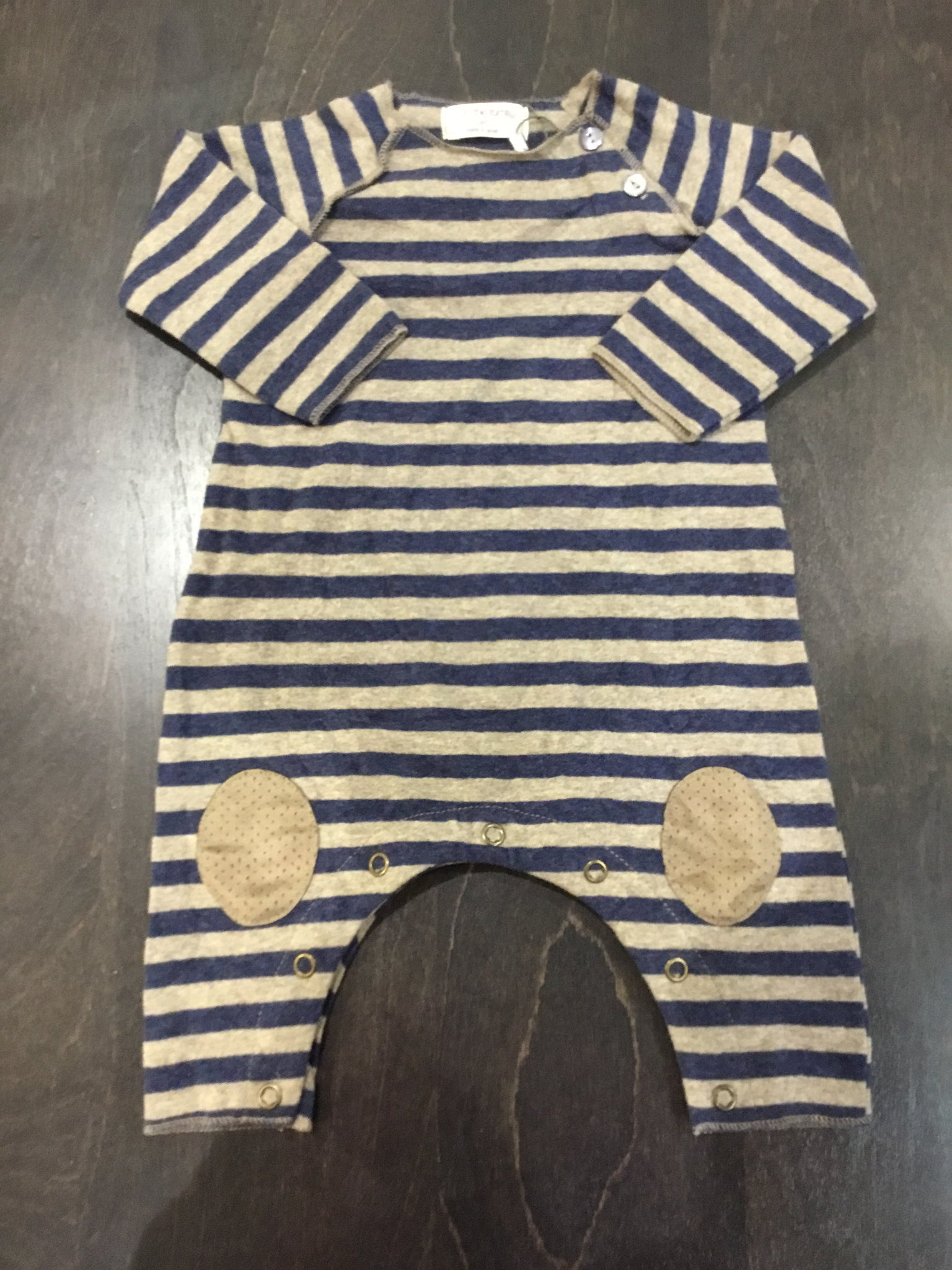 1+in the family navy & taupe striped romper
