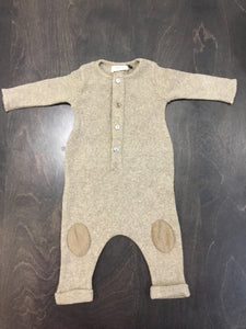 1+ in fam beige ribbed romper with patches