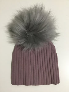 MANIERE PURPLE RIBBED POM POM HAT